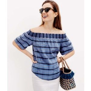 J. Crew Collection Silk Plaid Off the Shoulder Top
